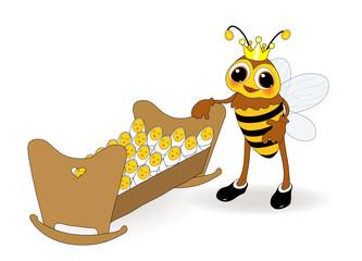 Bienenkönigin mit Ihren Babys, bienenzucht,