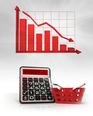 red basket with negative business calculations and graph