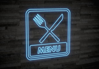 3d graphic of a creative menu sign on classy stone wall
