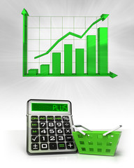 green basket with positive business calculations with graph