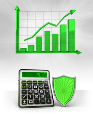 green shield with positive business calculations with graph