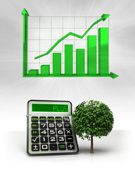 leafy tree with positive business calculations with graph