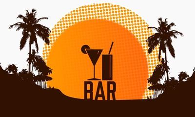 bar sign on a beach