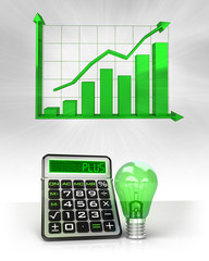 green lightbulb with positive business calculations with graph