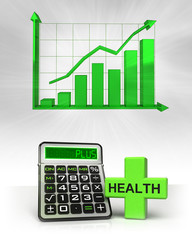 health cross with positive business calculations with graph