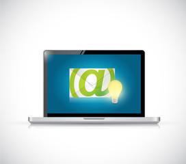 laptop and email light bulb illustration design
