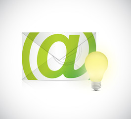 email and idea light bulb illustration design