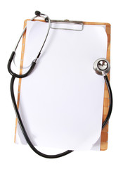 White paper and stethoscope for medical note