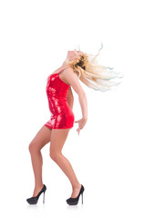 Woman dancing in red dress isolated on white