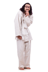 Funny karate fighter isolated on the white