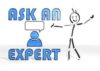 stick man presents ask an expert symbol