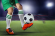 soccer football players and soccer ball with motion blur of spor