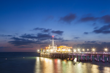 Santa Monica Pier after sunset, California, USA