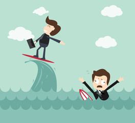 Expert concept -  businessman surfing wave