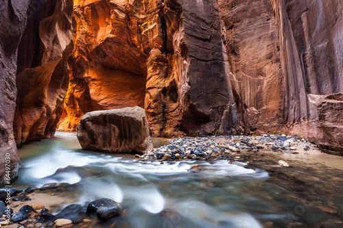 Wall street in the Narrows, Zion National Park, Utah - 64497030
