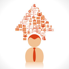 arrow design design business icon above men head vector