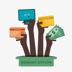 different payment option hold in hand vector