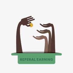 referal earning concept vector