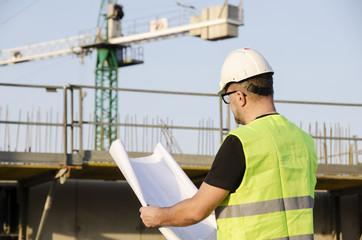 Architect on construction site.