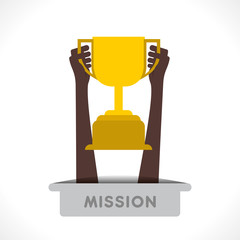 winning trophy in hand concept vector