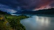 Columbia River Gorge Sunset with Moving Stormy Colorful Clouds