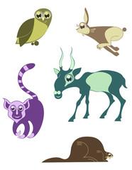 Cartoon funny animals set for design 7