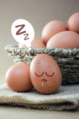 Eggs sleep on sackcloth