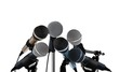Microphones Standing over White