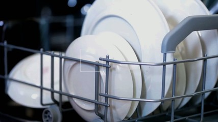FullHD video of opening dish washer close-up