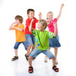happy children dancing on a white background, healthy life, kid'