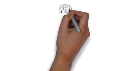 Schiefe Turm von Pisa Italien Zeichnung Handzeichnung