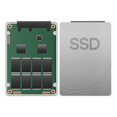 paper cut of ssd, solid state drive isolated is data storage wit