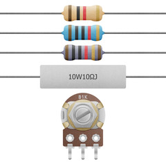 paper cut of resistor 4-6 band, cement resistor and variable res