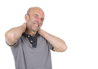 Man holding both hands behind a painful neck