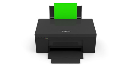 Animation of Modern Printer Printing Photo