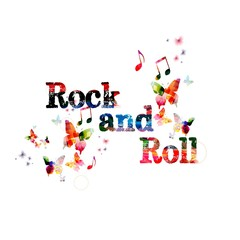 "Colorful vector ""Rock and Roll"" background with butterflies"