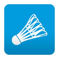 Etiqueta tipo app azul simbolo badminton