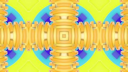 Vivid yellow and lime kaleidoscope background, loop