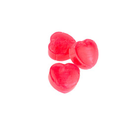 Red candy hearts isolated on white background
