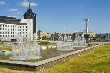 Kazan, fountains on Kamal square
