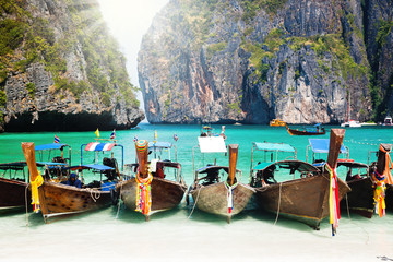 Thailand ocean landscape with traditional ship