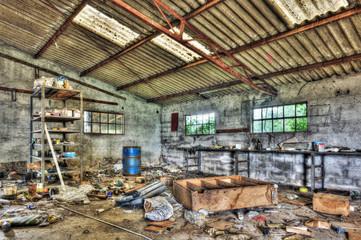 Messy abandoned workshop