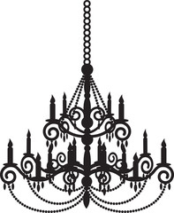 Black silhouette of chandelier