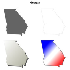 Georgia outline map set