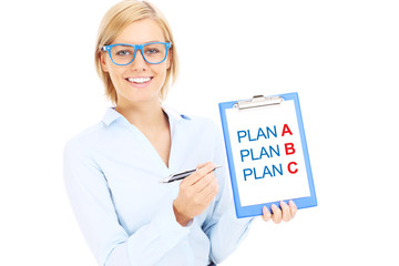 Businesswoman with plan A and plan B