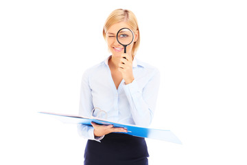 Accountant with magnifier