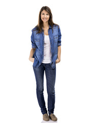 Beautiful and attractive woman wearing  a jeans shirt,
