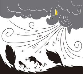 台風と人々