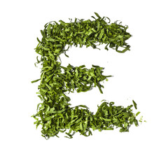 Salad letter E on white background