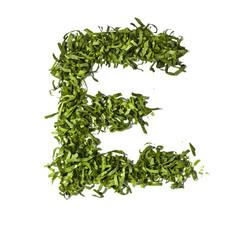 Salad letter E on white background